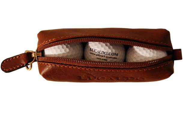 Tuscan Soul Leather Golf Ball Holder - Brown | 305505MA UK | Old Angler Firenze