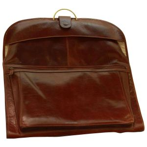 Leather Garment Bag - Brown