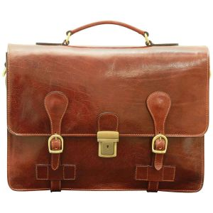 Leather Briefcase with buckle closures - Brown