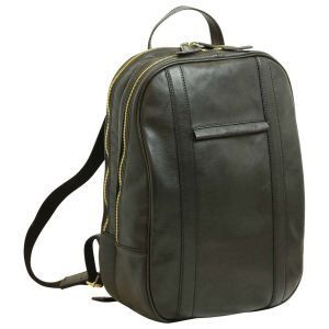 Soft Calfskin Leather Laptop Backpack - Black