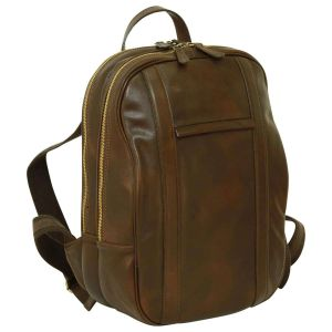 Soft Calfskin Leather Laptop Backpack - Dark Brown