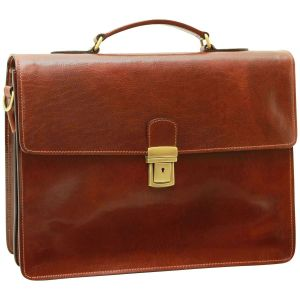 Leather Laptop Briefcase - Brown