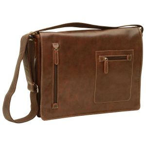 Oiled Calfskin Leather Messenger Bag - Chestnut