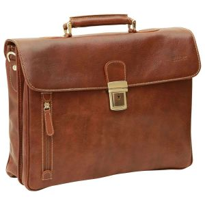 Oiled Calfskin Leather Briefcase with shoulder strap - Chestnut