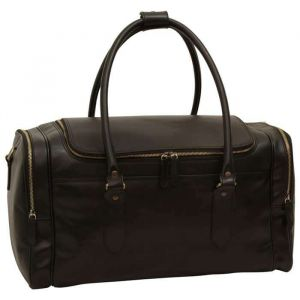 Round Metal Zip Leather Travel Bag - Black