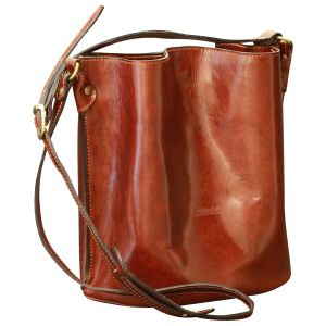 Cowhide leather shoulder bag - Brown