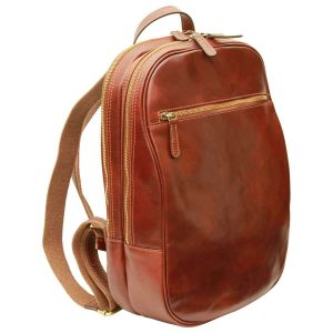 Leather backpack with exterior zip pockets - Brown