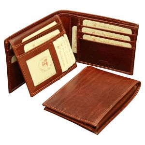 Cowhide leather bifold wallet with RFID blocking technology -  Brown