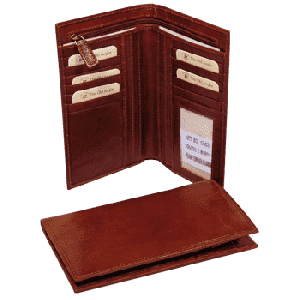 Leather wallet with zip closure - Brown
