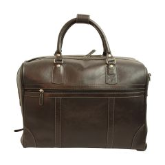 Oiled calfskin leather duffel bag - Black