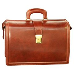 Leather Briefcase with 3 compartments - Brown