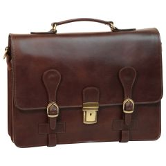 Leather Briefcase with buckle closures - Dark Brown