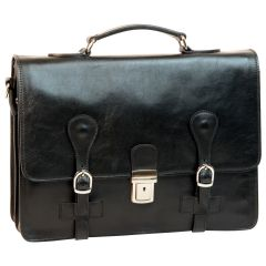 Leather Briefcase with buckle closures - Black