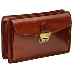 Leather Hand Bag - Brown