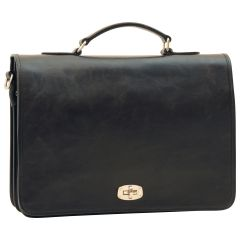 Cowhide Leather Full length Flap Briefcase - Black