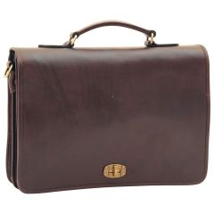 Cowhide Leather Full length Flap Briefcase - Dark Brown