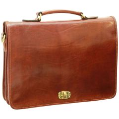 Cowhide Leather Full length Flap Briefcase - Brown