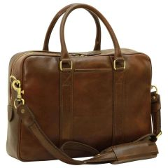 Soft Calfskin Leather Briefcase - Dark Brown