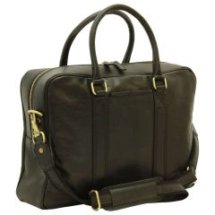 Soft Calfskin Leather Briefcase - Black