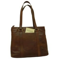 Soft Calfskin Leather Tote Bag - Dark Brown