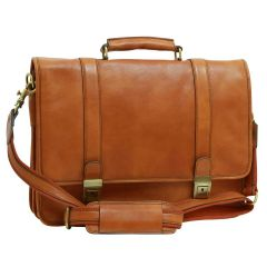 Soft Calfskin Leather Briefcase with shoulder strap - Gold