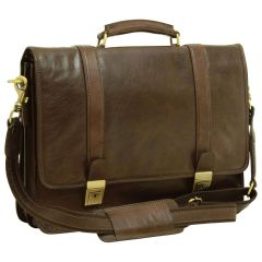 Soft Calfskin Leather Briefcase with shoulder strap - Dark Brown