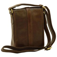 Soft Calfskin Leather Satchel Bag - Dark Brown