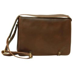 Borsa Messenger in vitello nappato. Marrone Scuro