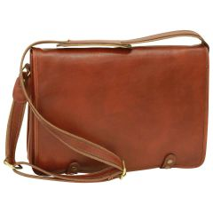 Borsa Messenger in vitello nappato. Marrone
