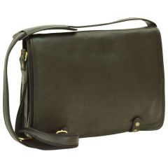 Calfskin Nappa Messenger Bag - Black