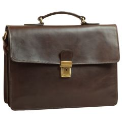 Leather Laptop Briefcase - Dark Brown