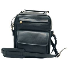 Leather Shoulder Bag with front pocket - Black