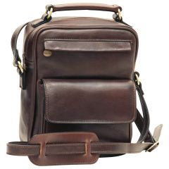 Leather Shoulder Bag with front pocket - Dark Brown