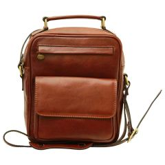 Leather Shoulder Bag with front pocket - Brown