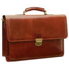 Cowhide leather briefcase - Brown