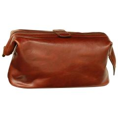 Beauty case in pelle. Brown