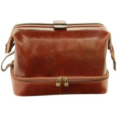 Cowhide leather travel kit - Brown