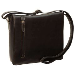 Borsa Messenger in pelle. Nero