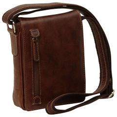 Oiled Calfskin leather crossbody bag - Chestnut