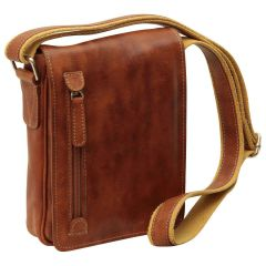 Oiled Calfskin leather crossbody bag - Brown Colonial