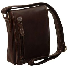 Oiled Calfskin leather crossbody bag - Dark Brown