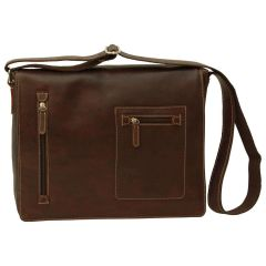 Oiled Calfskin leather messenger bag - Dark Brown