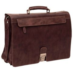 Oiled Calfskin Leather Briefcase with frontal zip pocket - Chestnut