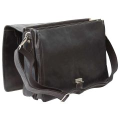 Oiled Calfskin Leather Briefcase with frontal zip pocket - Black