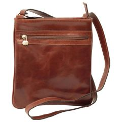 Leather Cross Body Bag with zip pocket - Brown