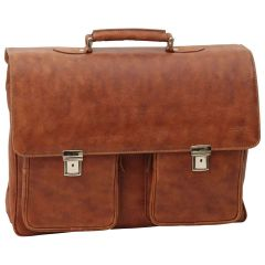 Oiled Calfskin Leather Briefcase with two clasp closure - Brown Colonial