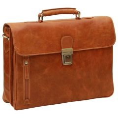 Oiled Calfskin Leather Briefcase with shoulder strap - Brown Colonial