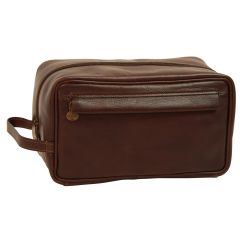 Full-grain calfskin leather beauty case - Dark brown- 078989TM