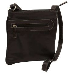 Leather cross body bag with zip pocket - Black