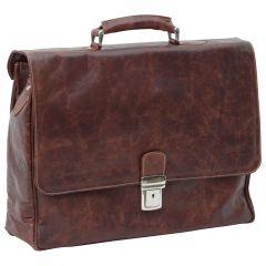 Leather Laptop Briefacase - Chestnut